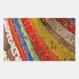 Vidrio del arte del arco iris pegatina rectangular