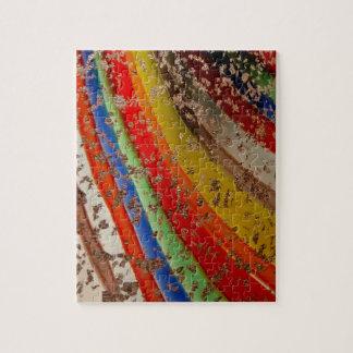 Vidrio del arte del arco iris rompecabeza con fotos