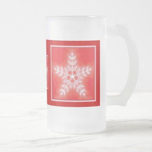 Vidrio del copo de nieve de la estrella del rojo y taza de cristal