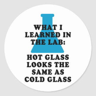 Vidrio del laboratorio pegatinas redondas