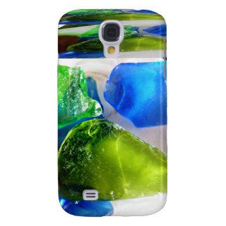 Vidrio del mar de la caja azulverde de la mota de  funda para galaxy s4