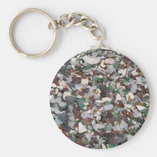 Vidrio del mar en la playa de cristal - Bermudas Llavero Redondo Tipo Pin