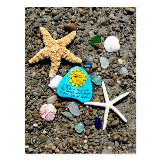 Vidrio del mar, postal de cristal de la diversión