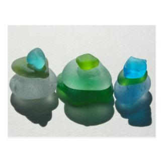 Vidrio del mar, vidrio de la playa, azul, verde, tarjeta postal