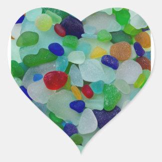 Vidrio del mar, vidrio de la playa, pegatinas del calcomania de corazon personalizadas