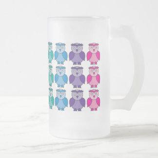 Vidrio esmerilado - modelo lindo del búho del arco taza de cristal