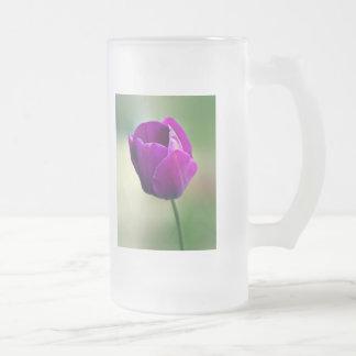 Vidrio esmerilado púrpura del tulipán taza de cristal