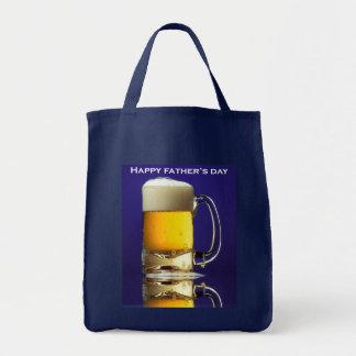 Vidrio feliz del día de padres de cerveza bolsa tela para la compra