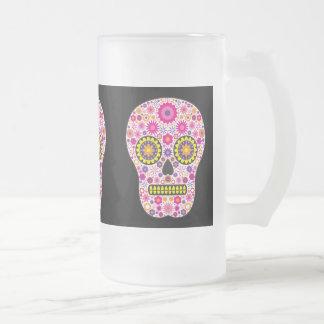 Vidrio mexicano rosado del cráneo del azúcar taza de cristal