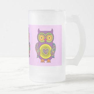 Vidrio psicodélico púrpura del búho taza de cristal