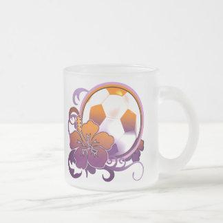 Vidrio púrpura de la taza de la flor tropical del