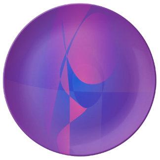 Vidrio púrpura plato de cerámica