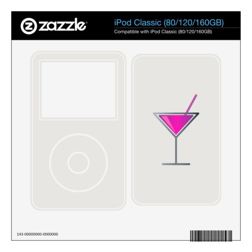Vidrio púrpura rosado de Martini del cóctel iPod Classic Calcomanía