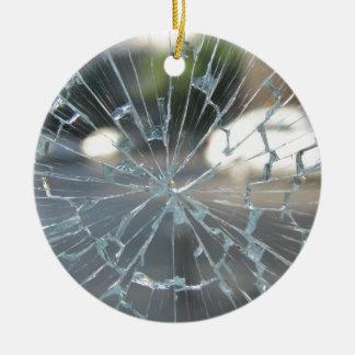 Vidrio quebrado adorno navideño redondo de cerámica