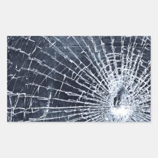 Vidrio quebrado pegatina rectangular