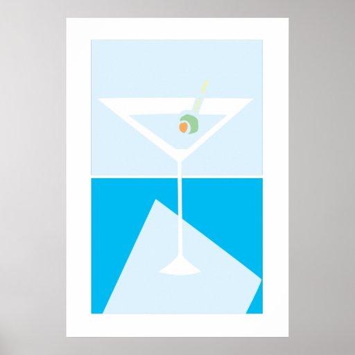vidrio retro de martini póster