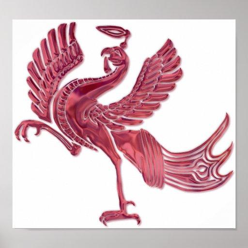 Vidrio rojo del rojo del pájaro posters