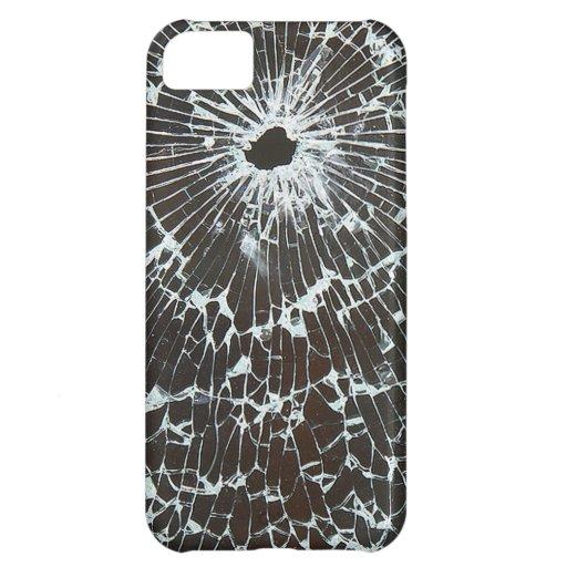 Vidrio roto con el agujero de bala funda para iPhone 5C