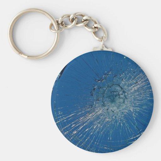 Vidrio roto hermoso llavero redondo tipo pin