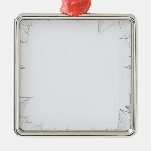 Vidrio roto quebrado adorno navideño cuadrado de metal