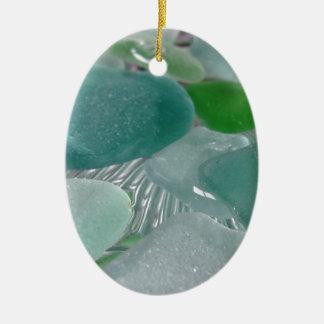 Vidrio verde del mar verde de las vibraciones adorno de navidad
