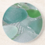 Vidrio verde del mar verde de las vibraciones posavasos personalizados