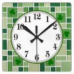 Vidrio verde reloj cuadrado