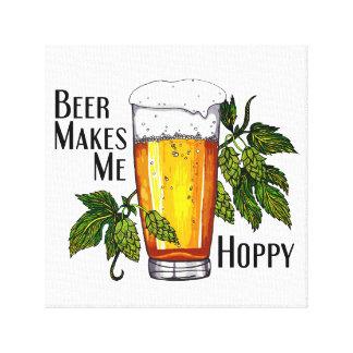 Vidrio y saltos de cerveza con el texto lienzo envuelto para galerias