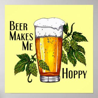 Vidrio y saltos de cerveza con el texto póster