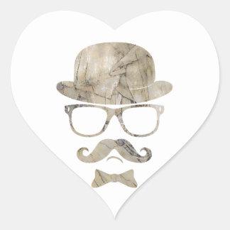 vidrios 3 de derby del bigote del inconformista calcomania de corazon