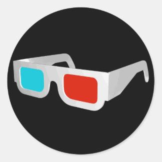 vidrios 3D en negro y blanco Etiqueta Redonda