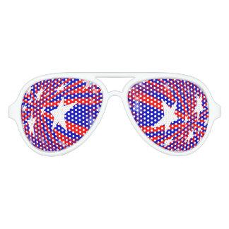 Vidrios abstractos azules blancos rojos gafas de sol