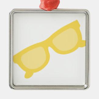 Vidrios amarillos de las gafas del inconformista adorno cuadrado plateado