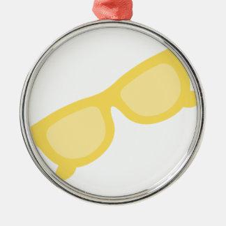 Vidrios amarillos de las gafas del inconformista adorno redondo plateado