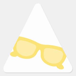 Vidrios amarillos de las gafas del inconformista pegatina triangular