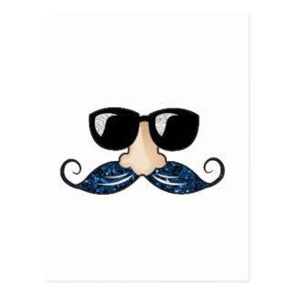Vidrios azules del brillo del bigote postal