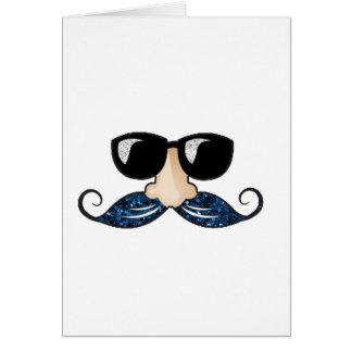 Vidrios azules del brillo del bigote tarjeta de felicitación
