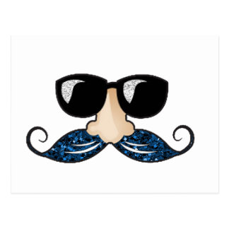 Vidrios azules del brillo del bigote tarjetas postales