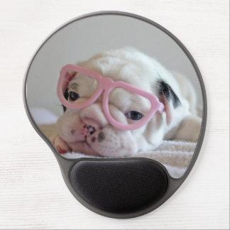 Vidrios blancos del cachorro del dogo francés, min alfombrilla de ratón con gel