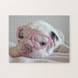 Vidrios blancos del cachorro del dogo francés, min rompecabezas