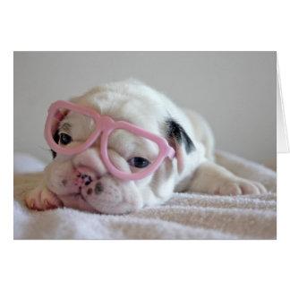 Vidrios blancos del cachorro del dogo francés, min tarjeta de felicitación