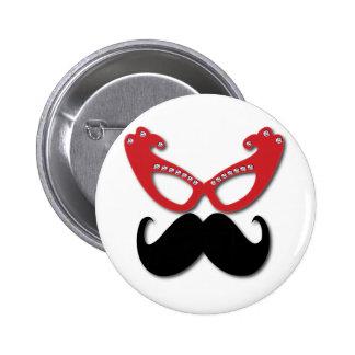 vidrios bling rojos con el bigote pin redondo de 2 pulgadas