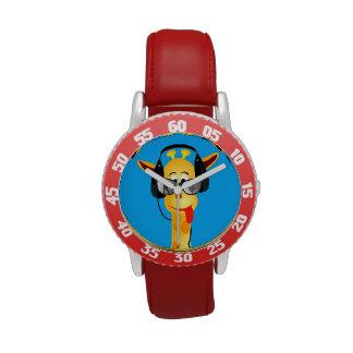 vidrios cómicos de la jirafa del verano divertido  reloj