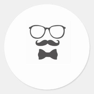 Vidrios de Bowtie del inconformista del bigote Pegatina Redonda