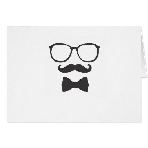 Vidrios de Bowtie del inconformista del bigote Tarjeta De Felicitación