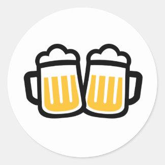 Vidrios de cerveza pegatina redonda
