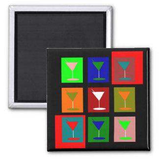 Vidrios de cóctel retros coloridos imán cuadrado
