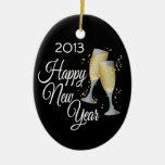 Vidrios de la Feliz Año Nuevo I Champán Ornamento De Navidad