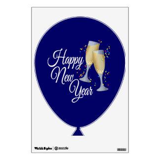 Vidrios de la Feliz Año Nuevo I Champán Vinilo Adhesivo