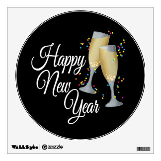 Vidrios de la Feliz Año Nuevo I Champán Vinilo Decorativo